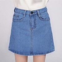 2017 Denim Skirt Women Spring Autumn Vintage Casual Female A Line Jeans Ladies Office Mini Skirt