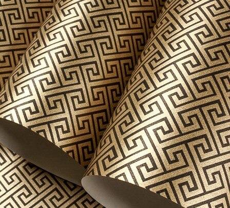 ФОТО Dark Gold Simple Lattice Non-woven Wallpaper Roll papel de parede para sala
