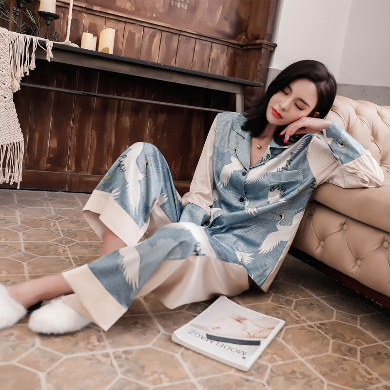 Female Fashion Silk   Pajama     Sets   Cute Crane Printed   Pajama   Long Sleeve Shirts&Pants Suits 2pc Silk Satin Home Clothing Sleepwear