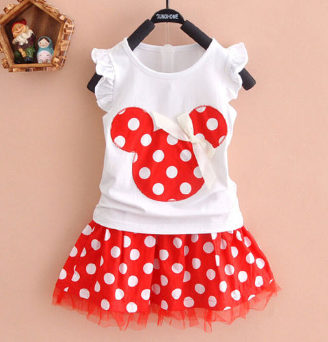 Hot! 2016 New Arrival Brand Baby Girls Cartoon Polka Dot Dress Suit Girl's Clothes 100% Cotton