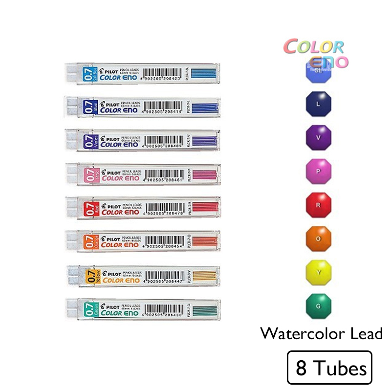 ><font><b>8pcs</b></font>/lot <font><b>Kawaii</b></font> Pilot Color Eno Mechanical Pencil Lead 0.7mm Graphite Pencil Watercolor Drafting Pencil Lead Crayon <font><b>Japanese</b></font>