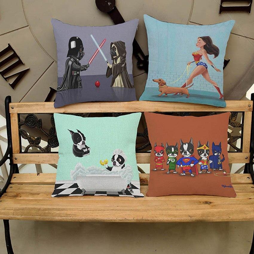 Puppy Dog Cosplay Starwar Bruce Almighty Cushion Cover Superman Princess Pug