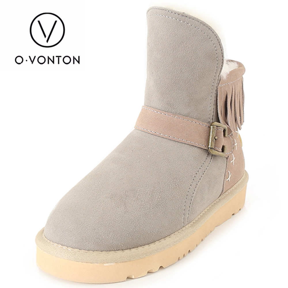 Q.VONTON Women Genuine Cow Suede Snow Boots Femal Thermal Slip on Sheepskin Ankle Boot Girl Casual Genuine Leather Shoes 2017 cow suede genuine leather female boots all season winter short plush to keep warm ankle boot solid snow boot bota feminina