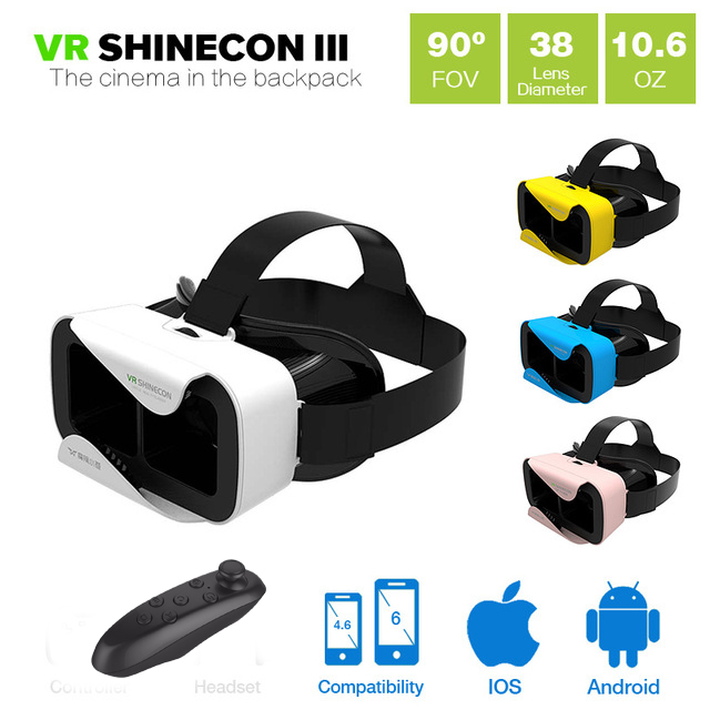2016 Shinecon VR 3.0 VR BOX Google Cardboard Virtual Reality 3D Glasses VR Headset Smartphone Game Movie + Bluetooth Controller