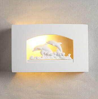 Ceramic,White Dolphin Plaster Modern LED Wall Lamp , LED Wall Sconce Light Free Shipping,AC,Bulb Included цена