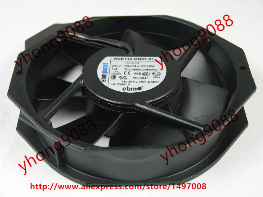 ebmpapst W2E142-BB01-01 AC 230V 27W 172x172x38mm Server Round Fan original ebmpapst 1120ntd tc 220 230v 16w 19w cooling fan