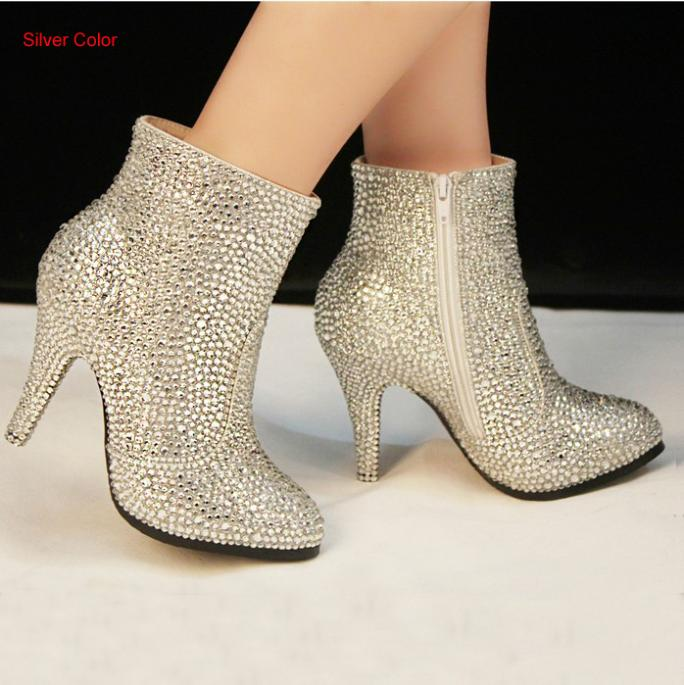 2016 New HotSale High Heels Silver Beauty Prom Evening Party Dress Women Lady Bridal Wedding Boots Shoe Brial Shoes Winter Boots