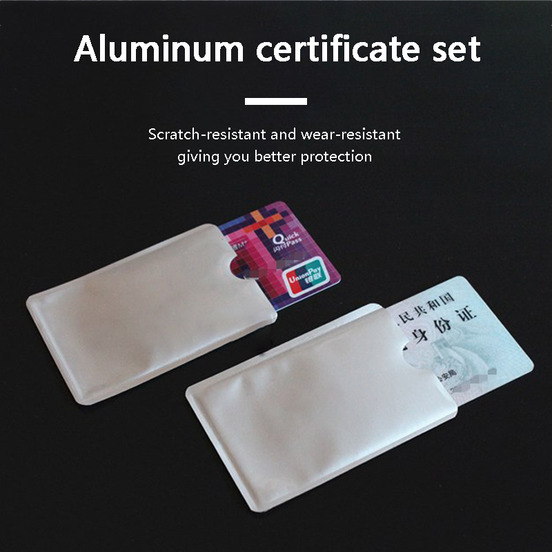 10pcs Card Cover Wallet Blocking Reader Lock Bank Card Holder ID Bank Card Case Protection Metal Credit Card Holder Aluminium