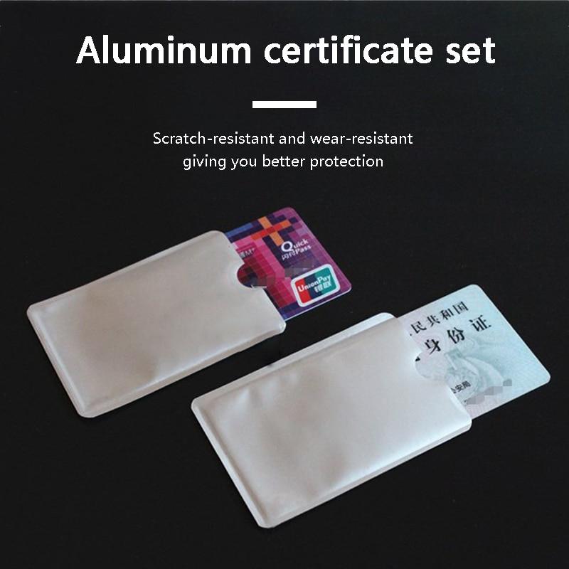 10pcs Card Cover Wallet Blocking Reader Lock Bank Card Holder ID Bank Card Case Protection Metal Credit Card Holder Aluminium