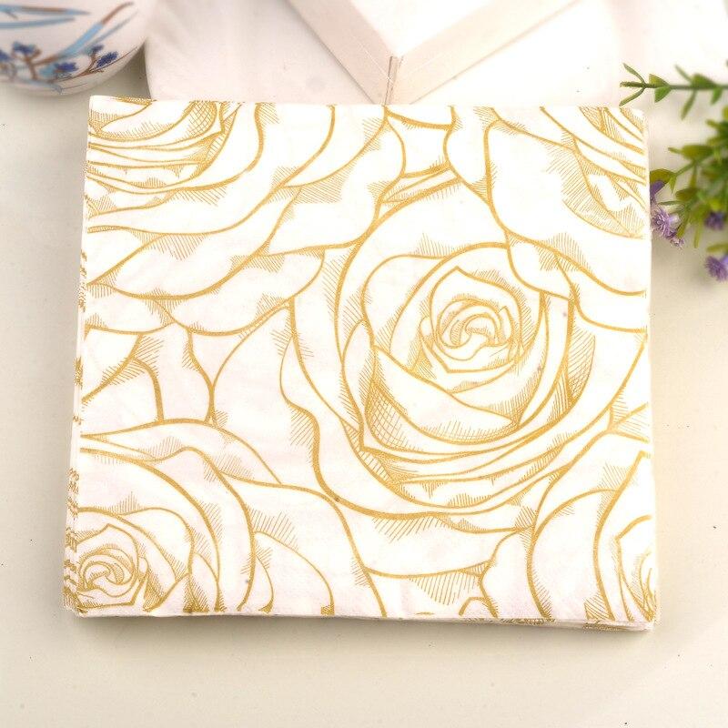 Rose Flower Printed Table Napkin Paper Wedding Hotel Tableware