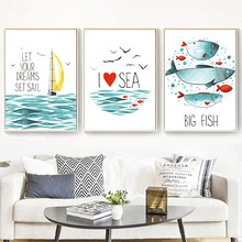 Gohipang Watercolor Fish Sailing Sea Landscape Nordic Posters And Prints Wall Art Canvas Painting Pictures For Living Room
