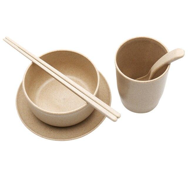 5PCS Natural Degradation Of Wheat Straw Fiber Environmental Tableware Dinnerware Bowl Teacup Plate Tablespoon Chopsticks Set  sc 1 st  AliExpress.com & 5PCS Natural Degradation Of Wheat Straw Fiber Environmental ...