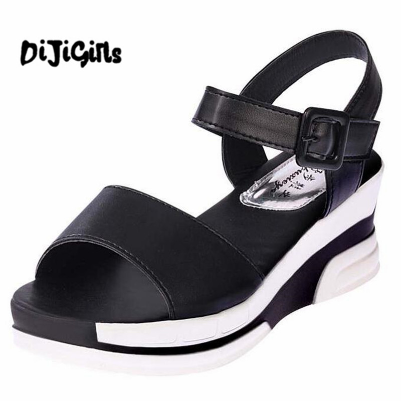 2017 Platform Sandals Women Summer Shoes Soft Leather Casual Shoes Open Toe Gladiator wedges Trifle Mujer Women Shoes Flats 2017 summer shoes woman platform sandals women soft leather casual open toe gladiator wedges women shoes zapatos mujer
