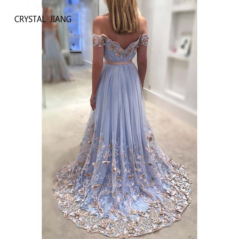 CRYSTAL JIANG 2018 Sweetheart Off Shoulder Butterfly Høj kvalitet - Særlige occasion kjoler - Foto 2