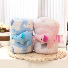 High quality 3D Baby animal elephant plush blanket minky bedding newborn swaddle wrap fleece infant character receiving blankets