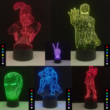 Homem aranha Homem De Ferro Modelo 3D Ilusão NightLight LED Glowing in the Dark Avengers Superhero Figura Brinquedos Light Up 7 cores(China)