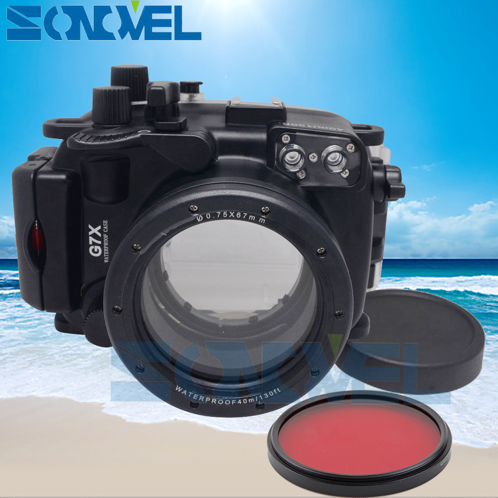 Meikon 40m 130ft Waterproof Underwater Diving Case Camera Housing Case For Canon PowerShot G7X and 24-100mm Lens+67mm Red filter 40m waterproof underwater housing case for canon powershot g7x mark ii camera