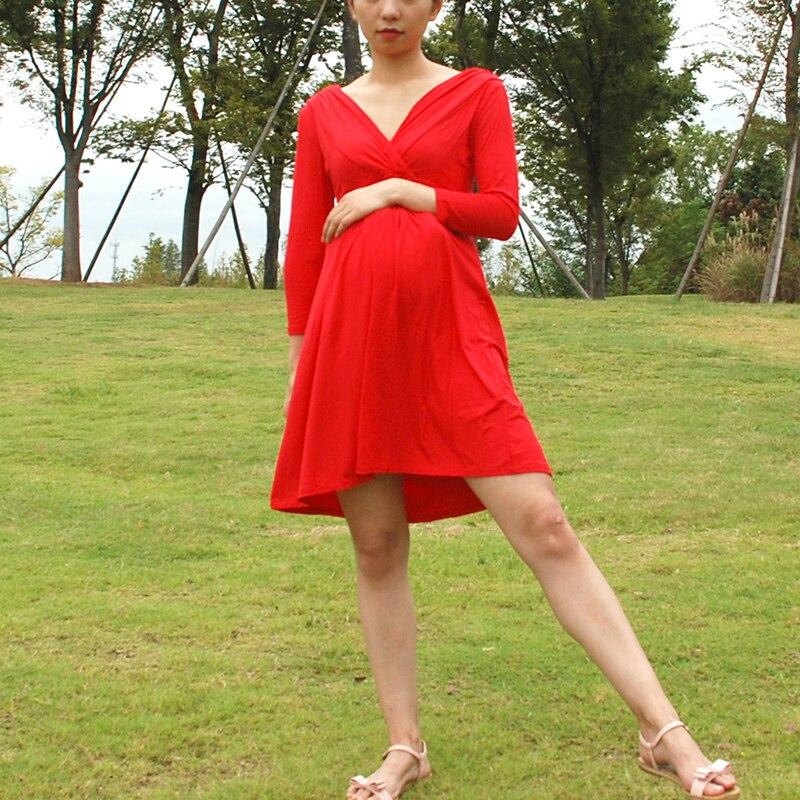 Элегантный Беременность платья модель кормящих платье для беременных Для женщин Одежда для беременных пиджаки v-образным вырезом для берем...