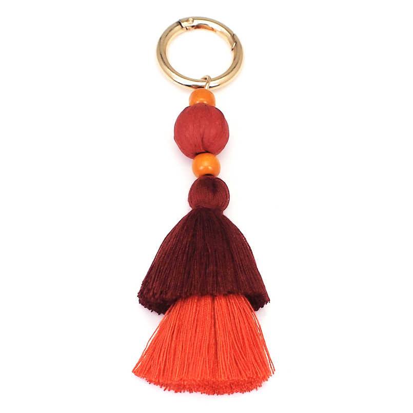 MANILAI Multicolor Algodão Borla Chaveiro Bola De Ráfia Mulheres Bohemian Charme Bolsa Pingente de Chave Da Cadeia de Acessórios de Moda Feitos À Mão