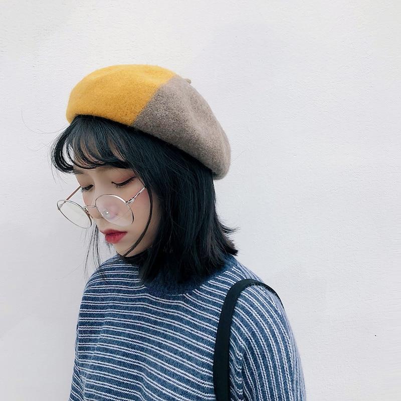93c30099568 Hat Female 2018 Beret Hats Women Winter Streetwear Patchwork Beret Cotton  Wool Berets New Fashion Korean Style Autumn Winter Cap