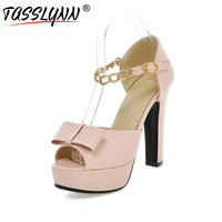 TASSLYNN 2018 Sexy Peep Toe Women Pumps Chain Ankle Strap Platform Wedding Shoes Women Square High Heel Soft PU Pumps Size 11