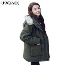 Uwback Winter Jacket Women Long Faux Fur Hooded Green Military Coat Woman Loose Windbreak Outwear Parkas Mujer TB1220