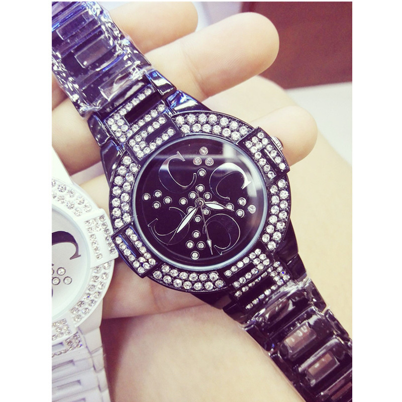 2019 Men 39 s and Women 39 s Quartz Watch Ceramic Watch Strap Black White Full Rhinestone High end Customized Watch Fashion amp Casual in Women 39 s Watches from Watches