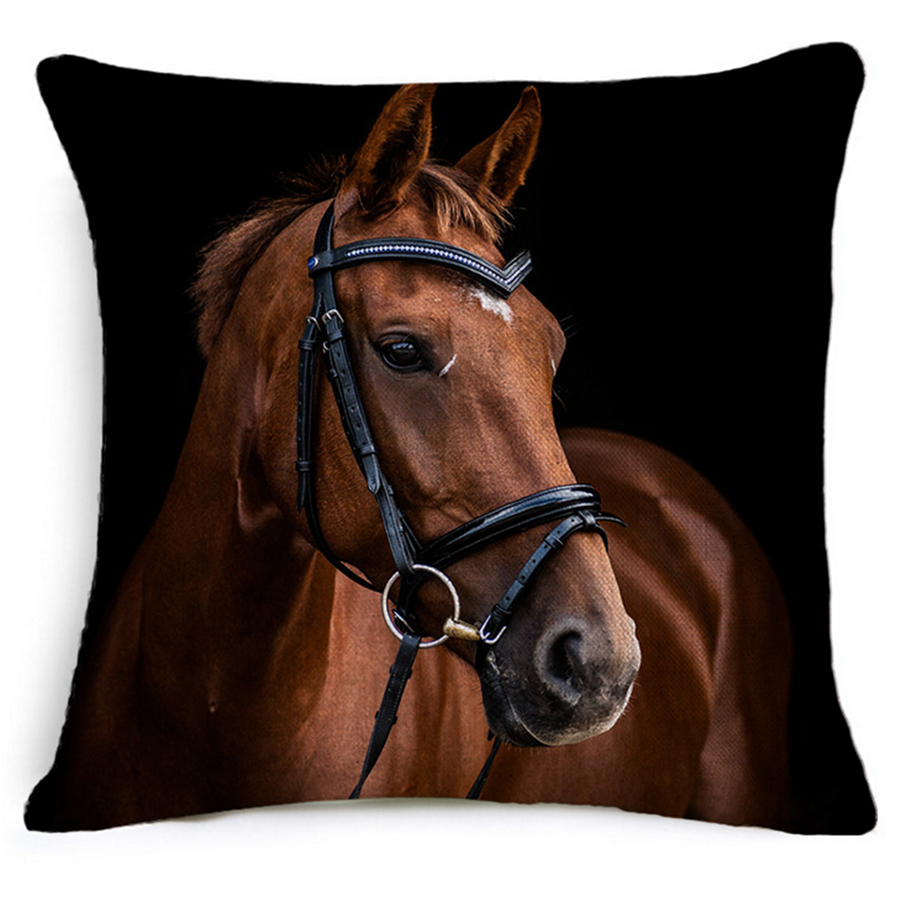 Cotton Linen Black Brown Horse Animal Decorative Cushion Covers Vintage Home Decor Sofa Throw Pillow Cover