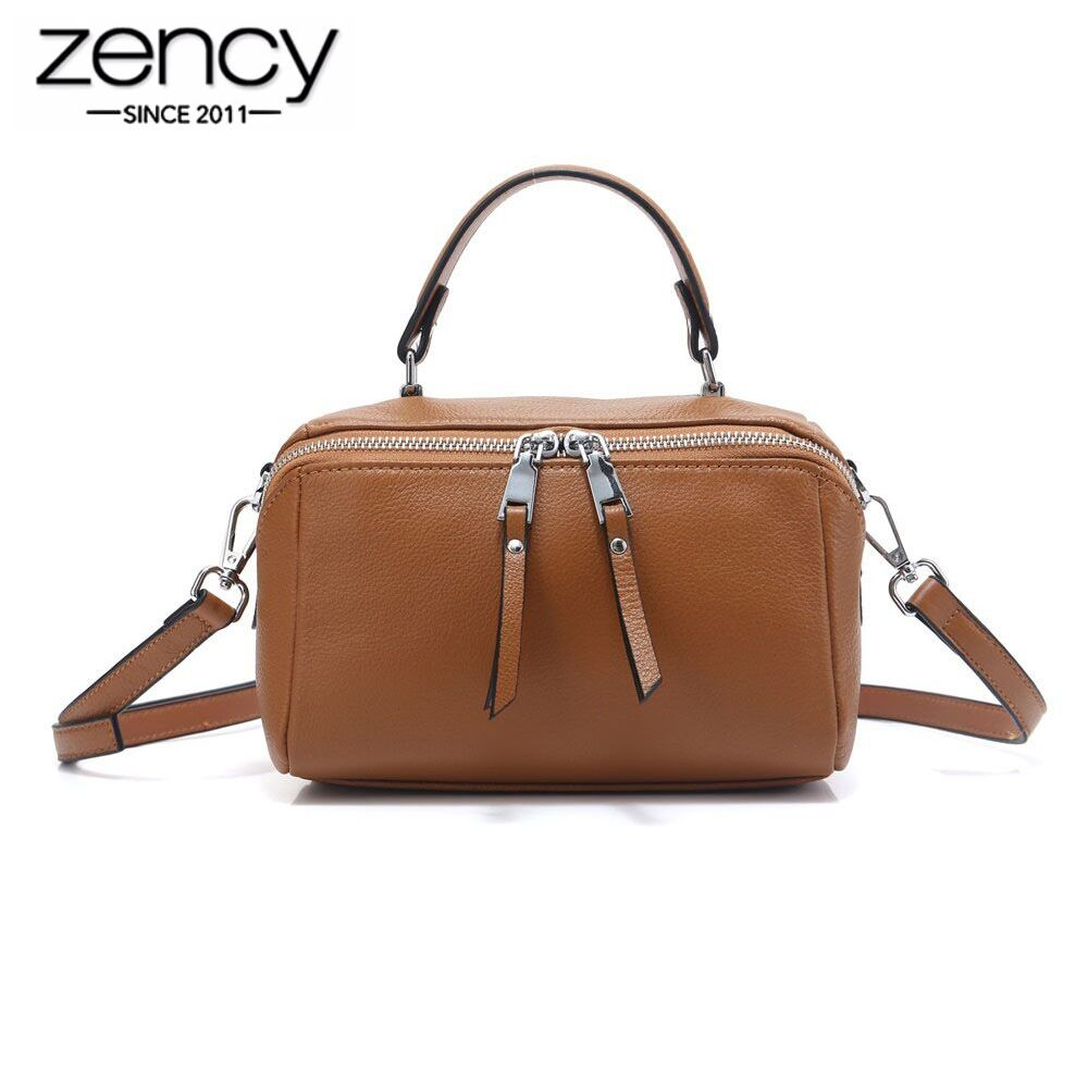 Zency Lady Casual Tote 100 Natural Leather Charm Black Women Handbag Small Bag Fashion Messenger Crossbody