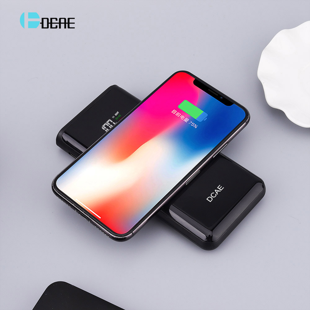 DCAE QI Wireless Charger Power Bank 10000mah LED Display External Battery Dual USB Powerbank for iphone X 8 Samsung S9 S8 Xiaomi