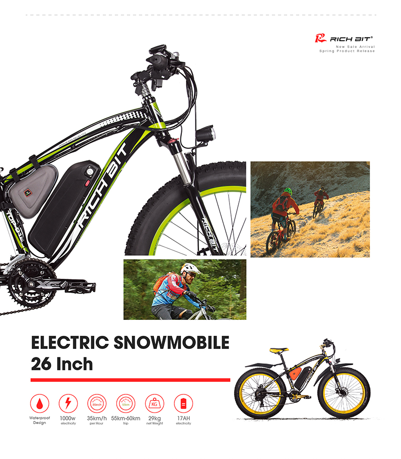 RichBit RT-012 Plus Fat Tire ebike 21 speeds 48V 1000W 17Ah Lithium Battery powerful Electric Bicycle With Computer Speedometer