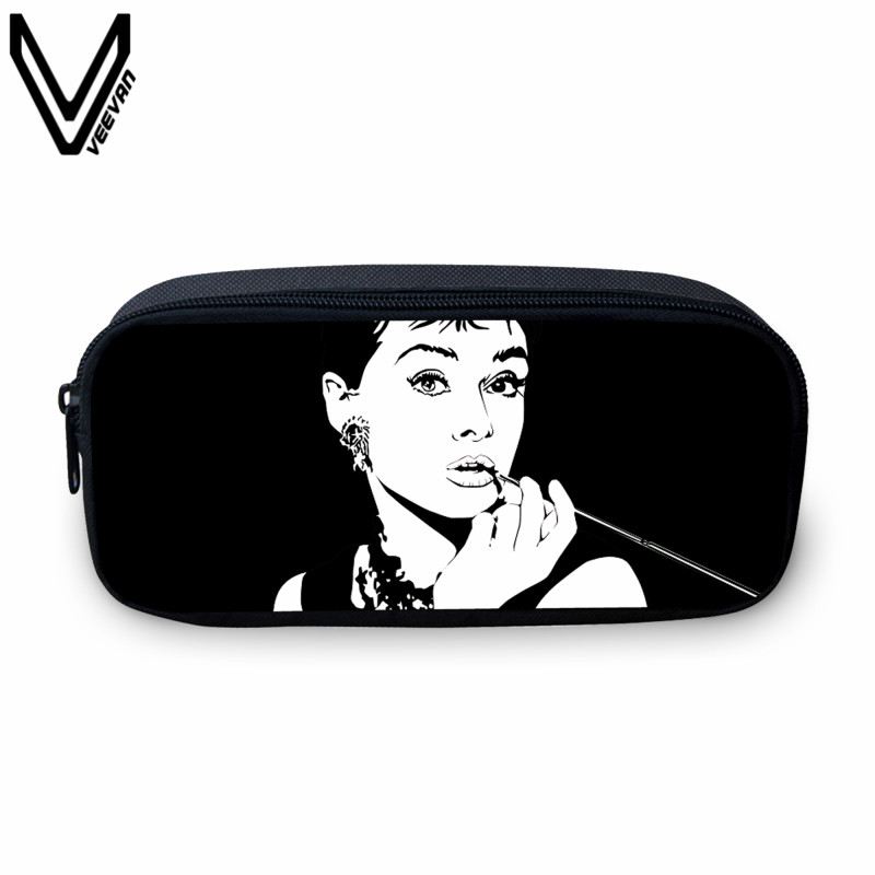 VEEVANV Casual Cosmetic Bags For Women Audrey Hepburn Prints Case Holder Cute Star Purses Kids Wallets School Case For Study