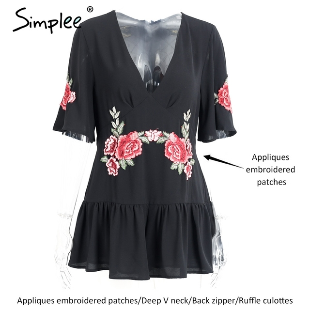 Simplee Deep V sexy bodysuit women jumpsuit romper Embroidery casual chiffon overalls 2017 summer playsuit ruffle beach leotard