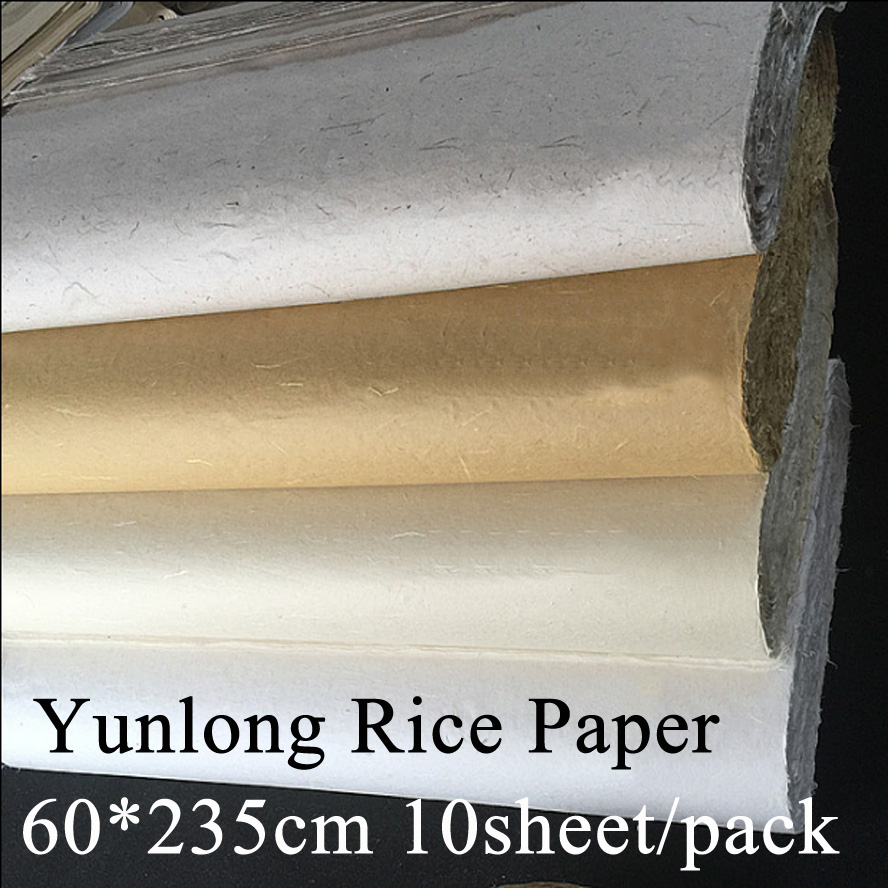 60*235cm Chinese Painting Rice Paper Calligraphy Drawing Paper Fiber Xuan Paper Yunlong Artist treasures Painting supply