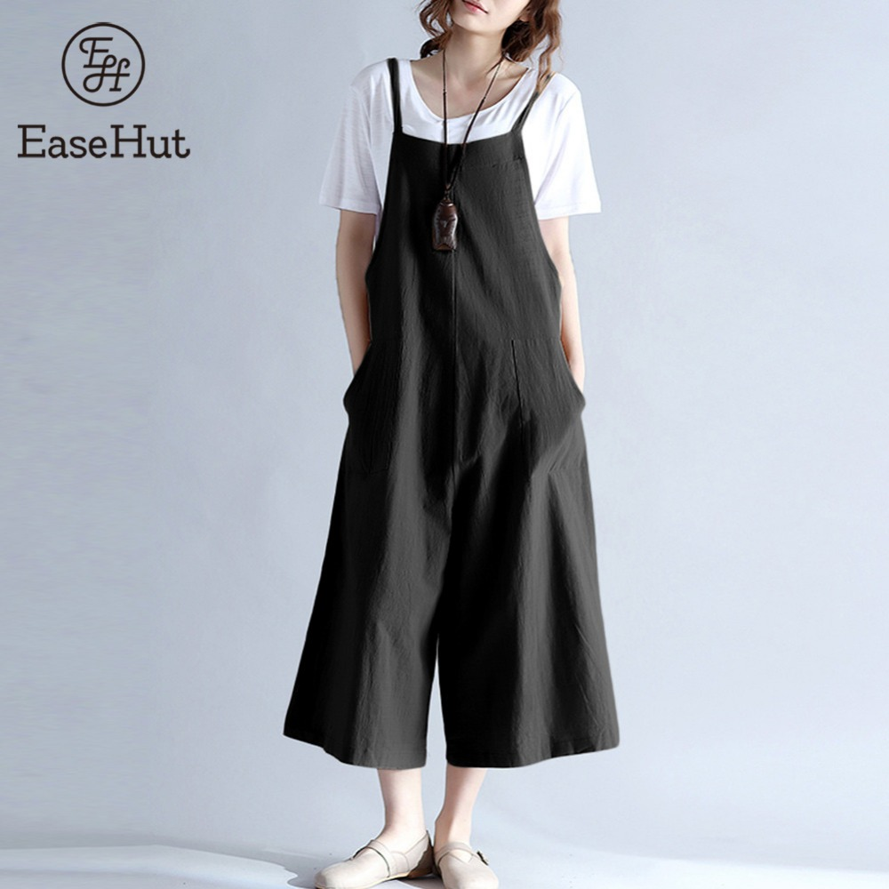 EaseHut 2018 Plus Size Women Cotton Pockets Long Wide Leg Romper Strappy Dungaree Overalls Casual Loose Solid Jumpsuit Trousers ...