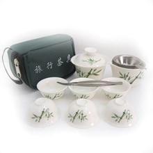 Dehua Porzellan Jade Reise Tee Sets10 Teilig Kung Fu Tee-Set Portable Reise Tee Anzug mit Tasche S