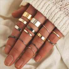 14 pieces / set of punk creative fashion three-color thick ring joint ring Midi ring set ladies simple ring jewelry jewelry(China)