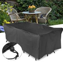 Waterproof Polyester Furniture Cover Table Cloth Canopy Black Garden Patio Table Chair Rectangular Shelter Protective Cover(China)