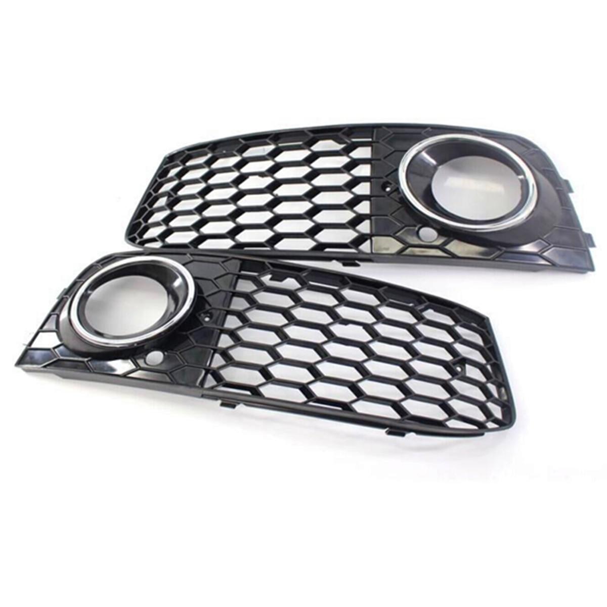 1 paire voiture A4 couverture antibrouillard Grille gril nid d'abeille maille antibrouillard lampe ouverte Grille d'aération pour Audi A4 B8 RS4 Style 2009-2012 - 3