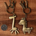 10 Pcs/Lot  Cute Antique Bronze Plated Metal Horse Giraffe Keychain Animal Key Chain Car Key Ring