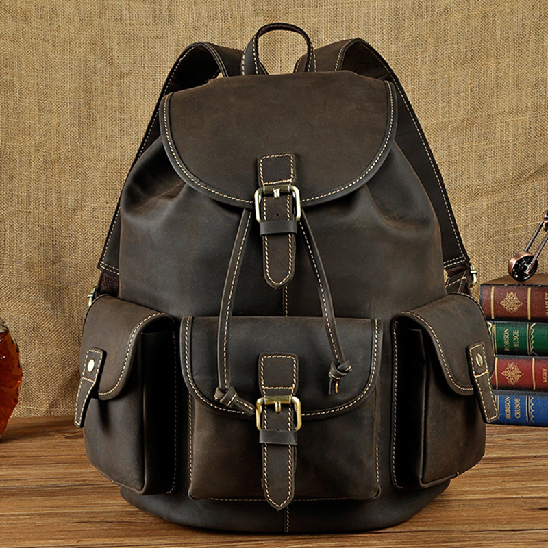 Top Quality Crazy Horse Cowhide Men Backpack School Daypack Bags Vintage Genuine Leather Knapsack Male Computer