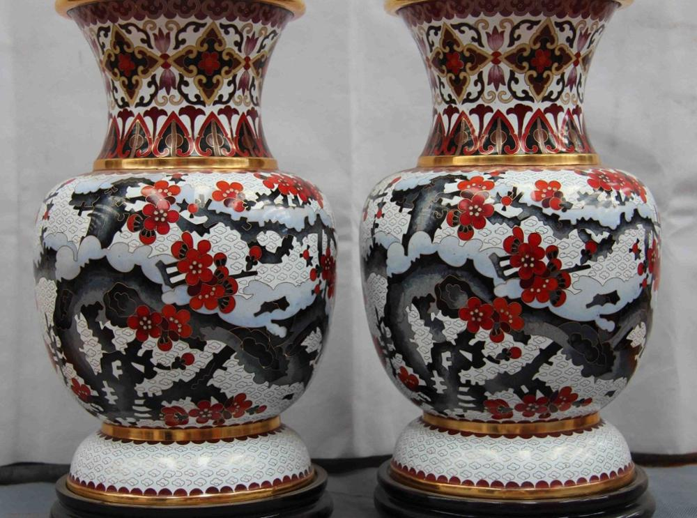 12 Palace Copper Cloisonne Gilt Enamel Jiang Xue Plum Blossom Jar Pot Vase Pair 8.02