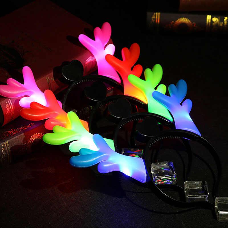 Дома для рождественской вечеринки украшения загорается светодиодный Луки Банданы для мужчин Игрушечные лошадки для Обувь для девочек бантом оголовье Женские аксессуары для волос Аксессуары подарки