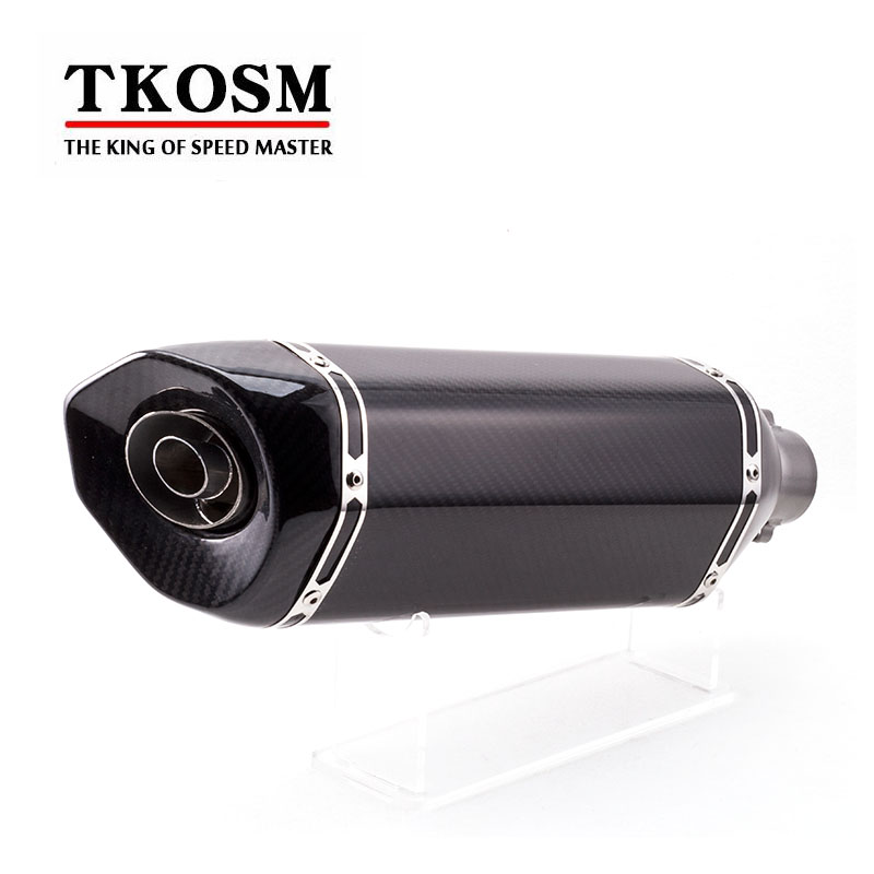 TKOSM General Motorcycle Exhaust Pipe Exhaust Muffler Carbon Fiber Modified Oblique Back Pressure For Z800 Huanglong 600 free shipping carbon fiber id 61mm motorcycle exhaust pipe with laser marking exhaust for large displacement motorcycle muffler