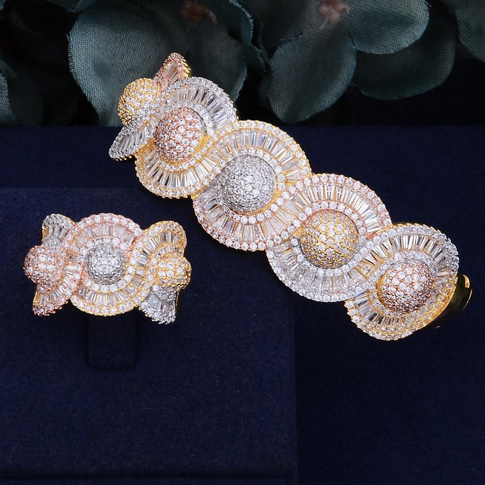 GODKI Luxury Round Bubble Top Super Luxury Geometry Cubic Zirconia Wedding Bracelet For Women Bangle Ring