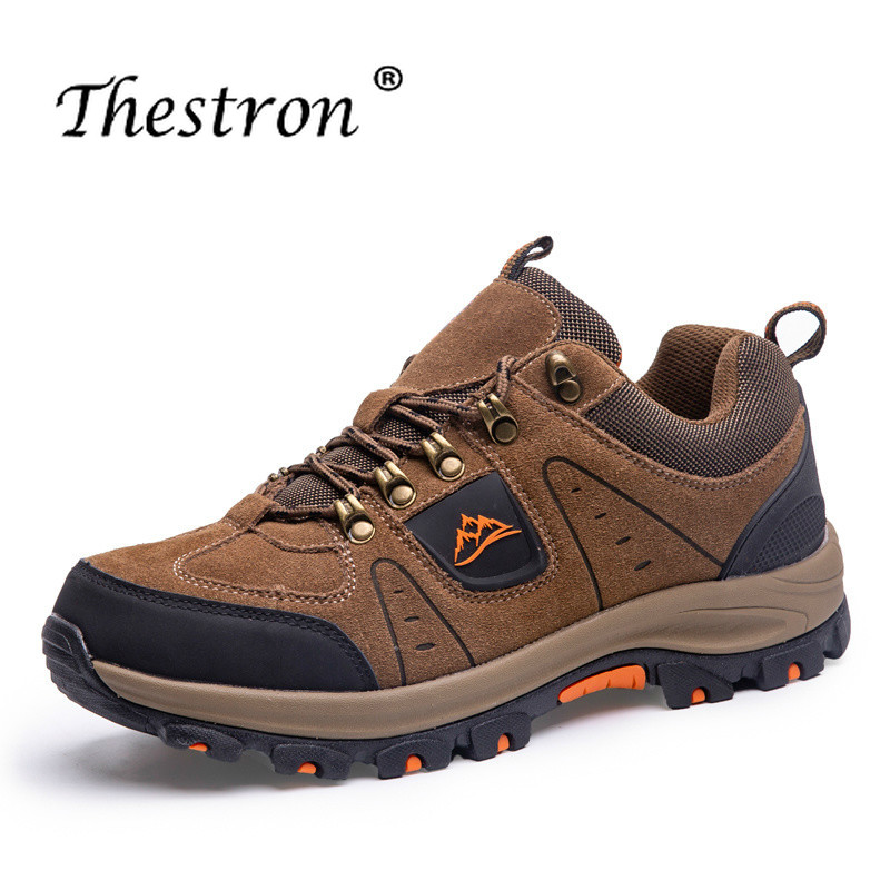 THESTRON Climbing Shoe Outdoor Sneakers Sport Anti-Slip Lace-Up Suede Men for Rubber-Sole