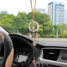 Car Pendant Metal Crystal Pentagram Hanging Ornament Charms Auto Rearview Mirror Decoration Dangle Suspension Trim Accessories