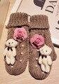 Прекрасный Маленький Медведь Согреться Шерсть Увеличение Вниз Перчатки Рок Камелии Утолщение Вязание Линия Пятнистый Пакет Палец Перчатки перчатки