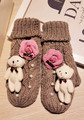 Lovely Little Bear Keep Warm Wool Increase Down Glove Rock Camellia Thickening Knitting Line Sika Package Finger Glove gloves