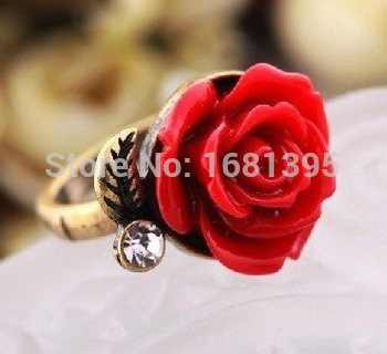 Hot Sale New Arrival Flower With Leaf Ring Red/Black/White Color Rose Ring Adjustable jewelry